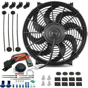 14 Inch 120w Motor Electric Radiator Cooling Fan Adjustable Temp Thermostat Kit
