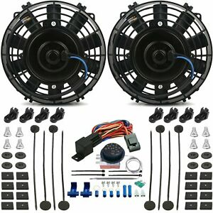 Dual 6 Inch Electric Car Truck Fan Adjustable Thermostat Controller Switch Kit