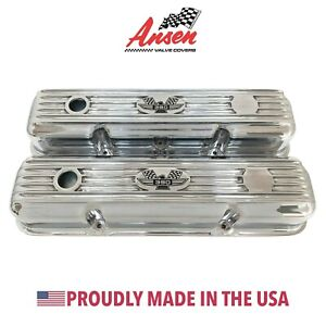 Ford Fe 390 American Eagle Finned Short Valve Covers Polished Ansen Usa