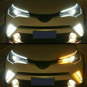 2 X 60cm Drl Amber Led Light Sequential Flexible Turn Signal Strip For Headlight
