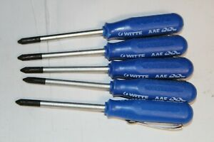 Witte Small Pocket Screwdriver Lot Of 5pcs Phillips Blue Handle Made In Germany