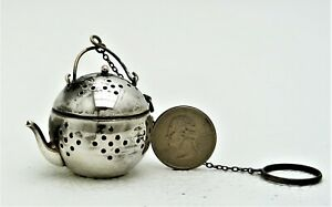 Silver Plate Tea Infuser Ball Figural Kettle With Chain And Ring