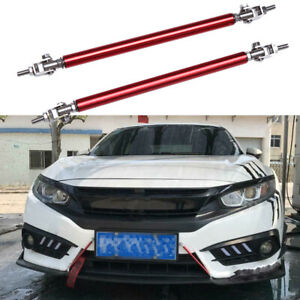 8 13 Red Adjust Front Bumper Lip Splitter Strut Rod Support Tie Bars For Honda