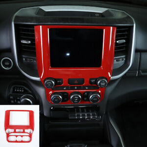 Red Center Console Gps Navigation Panel Trim Decor Cover For Dodge Ram 1500 18