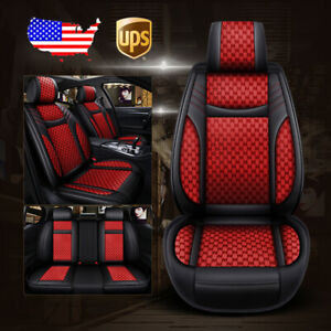 Universal Car Leather Flax 9pc Seat Covers Cushion For Vw Jetta Passat Black Red