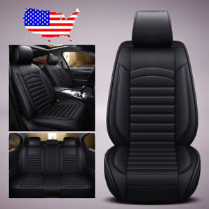 Us Black Car Suv Leather 5 Seat Seat Cover Front Rear For Honda Accord Civic Crv