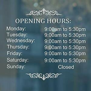 Business Hours Sign For Glass Door Sticker Hours Of Operation Window Sign