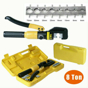 8 Ton 8 Dies Hydraulic Crimper Crimping Tool Wire Battery Cable Lug Terminal