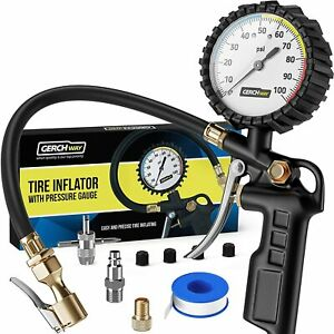 Tire Inflator With Pressure Gauge Large Glow Dial Swivel Air Chuck With Gauge