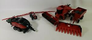 Lot Of 6 Case Ih Diecast Metal And Plastic Farm Implements Combine Baler Wagon