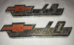 Lot Of Two Vintage 1960 1966 Chevy 10 Truck Emblem Badge Symbol Logo Oem 1961