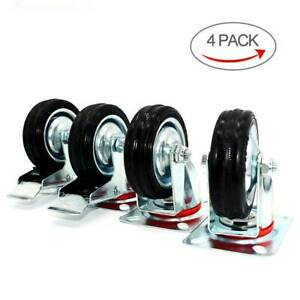 4 Pack 3 Swivel Caster Wheels Rubber Base With Top Plate Bearing Heavy Duty