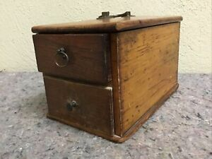 Antique Spice Caddy Two Drawer Brass Handle