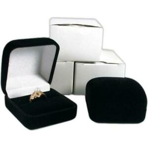 3 Black Flocked Square Ring Gift Boxes Jewelry Display