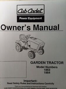 Cub Cadet Corp Ccc Mtd 1863 1864 Garden Lawn Tractor Owners Manual 18 H p Kohler