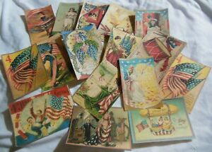 Set Of 16 Victorian Large Vintage Patriotic Images From Vintage Postcards set 1