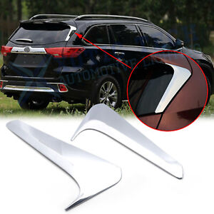 Chrome Rear Window Side Spoiler Wing Cover Trims For Toyota Highlander 2014 2018