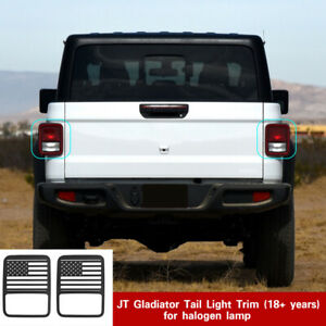 2x Tail Light Taillight Lamp Decor Cover Guards For Jeep Gladiator Jt 20 Black
