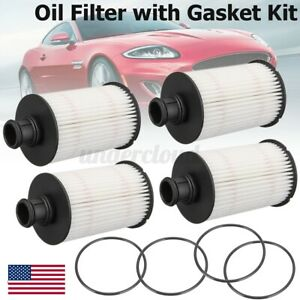 4pcs Engine Oil Filter With Gasket Set For Jaguar Xfr Xk For Land Rover C2d3670