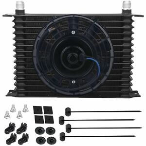 15 Row Aluminum Engine Transmission Oil Cooler 6an Hose 8 Inch Electric Fan Kit