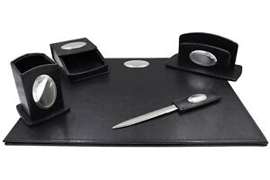 Office Supply Desk Set Of 5 Pieces Black Eco leather Oval Silver Plated Inserts