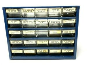 Vintage Industrial Blue Metal Small Parts Storage Box With 25 Drawers Denmark