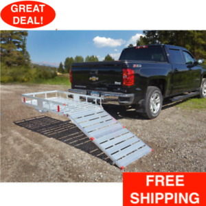 Flip Up Hitch Cargo Carrier W Ramp Folding Aluminum Small Vehicles Mowers Fit