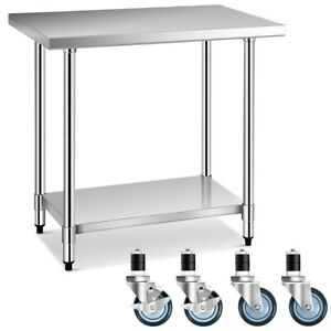 24 X 36 Stainless Steel Commercial Kitchen Nsf Prep Work Table W 4 Wheels