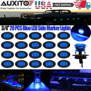 20pcs 3 4 Round Blue Led Side Marker Clearance Bullet Lights For Truck Trailer