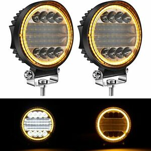 Pair 5 inch 200w Round Led Work Light Spot Flood Driving Fog Amber Lamp Offroad