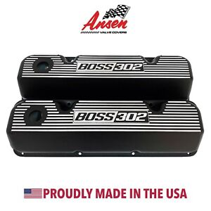 Ford Boss 302 Valve Covers Black 351 Cleveland Finned Styling Ansen Usa
