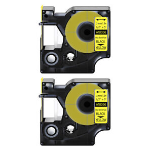 2 Heat Shrink Tube Label Ind Tape Black On Yellow 18056 For Dymo Rhino 3000 1 2