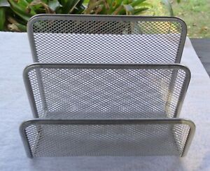 Silver Tone Mesh Metal Office Document Letter Organizer 2 Slots Divider Small