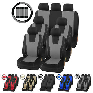 Universal Car Auto Seat Covers W Steering Wheel Cover And Belt Pads Full Set