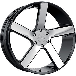 22 Inch 5x120 4 Wheels Rims Milanni 472 22x9 5 30mm Black Machined
