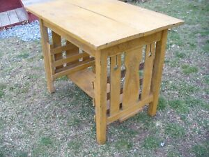 Antique Mission Arts Crafts Oak Library Table Magazine Rack Old Mustard Paint