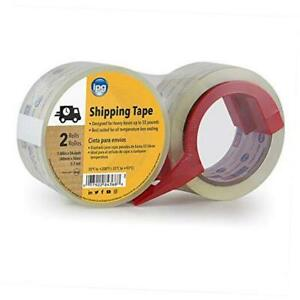 Clear Shipping Tape 2 pack 1 88 X 54 6 Yd With Dispenser