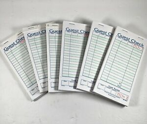 Part Green White Carbonless Guest Order Receipt Check Book Bundle Of 6 Unused