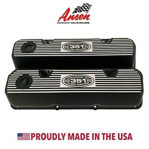 ansen New Ford 351 Cleveland Valve Covers Black powered By 351 Cubic Inches
