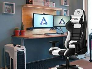 Office Ergonomic Gaming Computer Body hugging Leather Armrest Footrest Chair