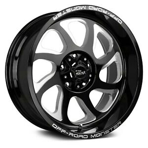 Off road Monster M22 Wheels 22x12 44 6x135 87 1 Black Rims Set Of 4