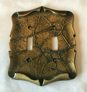 Vintage Amerock Brass Carriage House Double Light Switch Plate Cover