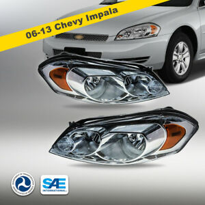 2006 2013 Chevy Impala Headlights Headlamps Pair Chrome Replacement Clear Lens