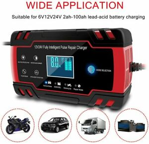 Car Smart Automatic Battery Charger Maintainer Repair 24 12v Wet Gel Agm Battery