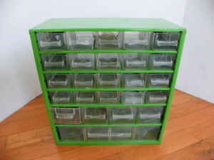 Vintage 25 Drawer Metal Nut bolt Small Parts Storage Cabinet Organizer Green
