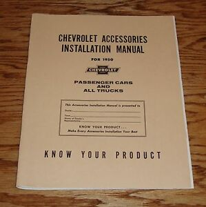 1950 Chevrolet Accessories Installation Manual Car Truck 50 Chevy