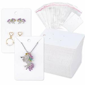 150 Pcs Necklace Earring Display Card With 200 Self seal Bags Earring Holder