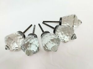 Vintage Clear Glass Faceted Knobs Pulls Handles Prism Glass With Peak Lot Of 5