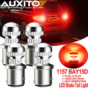 4x Auxito 1157 2357 2057 Red Led Stop Turn Signal Brake Tail Light Bulbs Bay15d