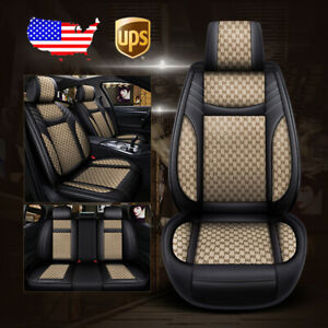 9pc Car Leather flax 5 seat Seat Cover For Ford Ecosprt Edge Escape Focus Fusion